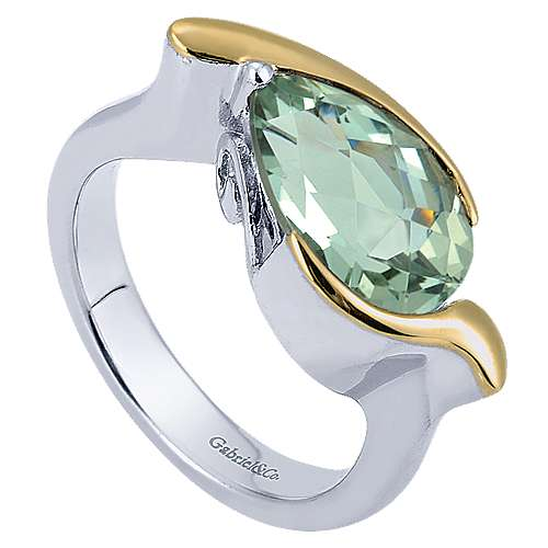 925 Silver And 18k Yellow Gold Color Solitaire Fashion Ladies' Ring angle 3