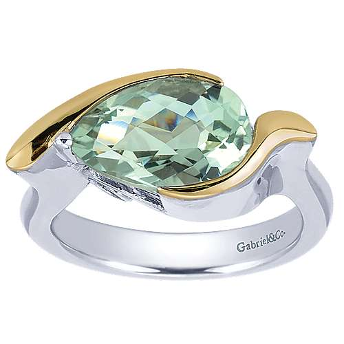 925 Silver And 18k Yellow Gold Color Solitaire Fashion Ladies' Ring angle 4