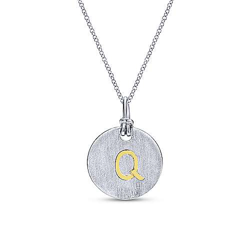 925 Silver And 18k Yellow Gold Contemporary Initial Necklace angle 1