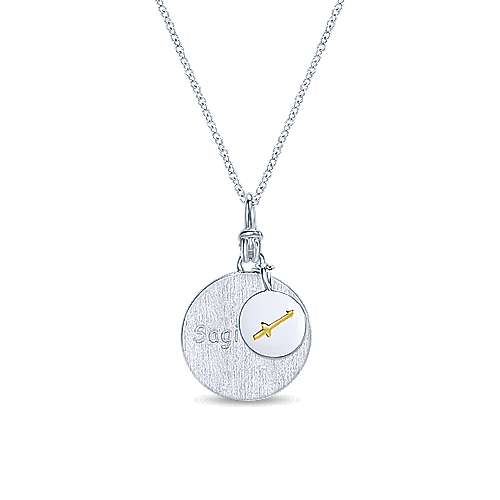 925 Silver And 18k Yellow Gold Contemporary Zodiac Necklace angle 1