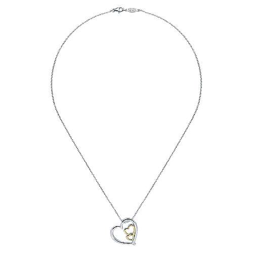 925 Silver And 18k Yellow Gold Eternal Love Heart Necklace angle 2