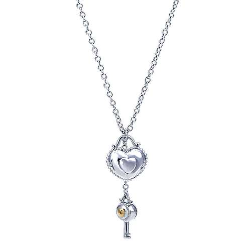Gabriel - 925 Silver And 18k Yellow Gold Eternal Love Heart Necklace