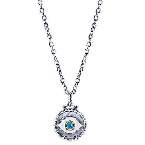 925 Silver And 18k Yellow Gold Evil Eye Fashion Necklace angle 1