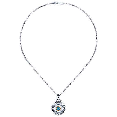 925 Silver And 18k Yellow Gold Evil Eye Fashion Necklace angle 2