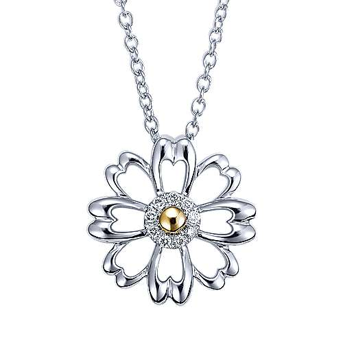 Gabriel - 925 Silver And 18k Yellow Gold Floral Fashion Necklace