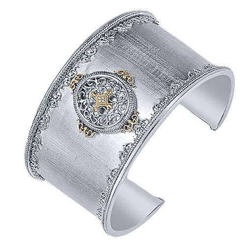 925 Silver And 18k Yellow Gold Goddess Cuff Bangle angle 2
