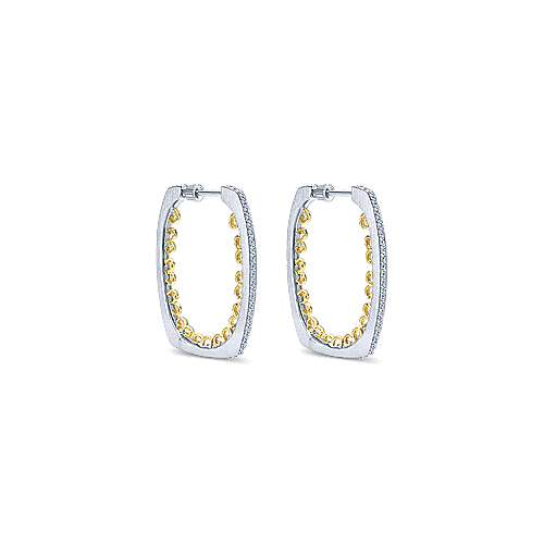 925 Silver And 18k Yellow Gold Hoops Intricate Hoop Earrings angle 1