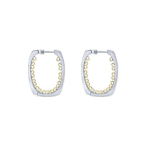 925 Silver And 18k Yellow Gold Hoops Intricate Hoop Earrings angle 2
