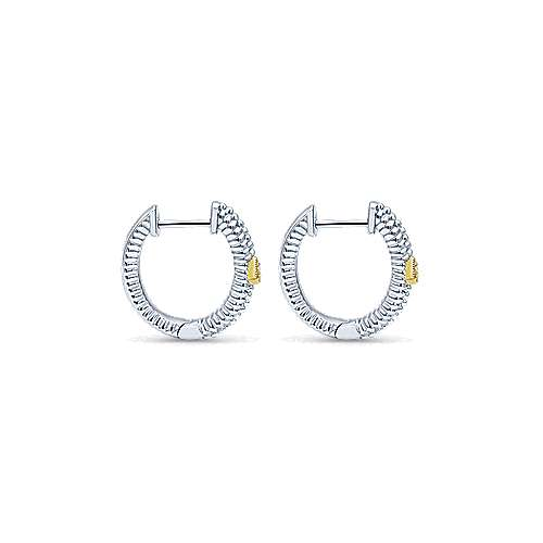 925 Silver And 18k Yellow Gold Huggies Huggie Earrings angle 2
