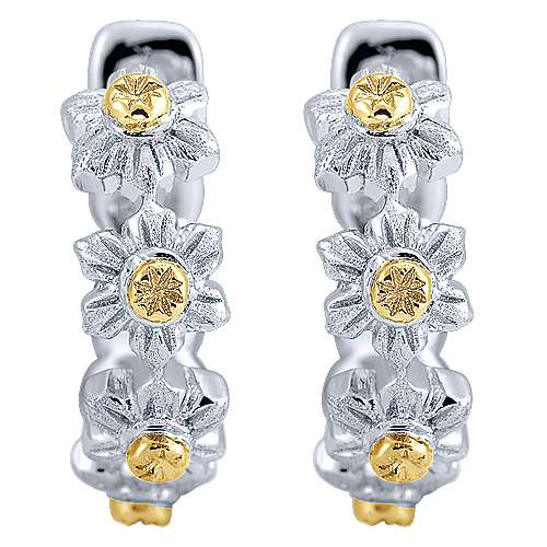Gabriel - 925 Silver And 18k Yellow Gold Huggies Huggie Earrings