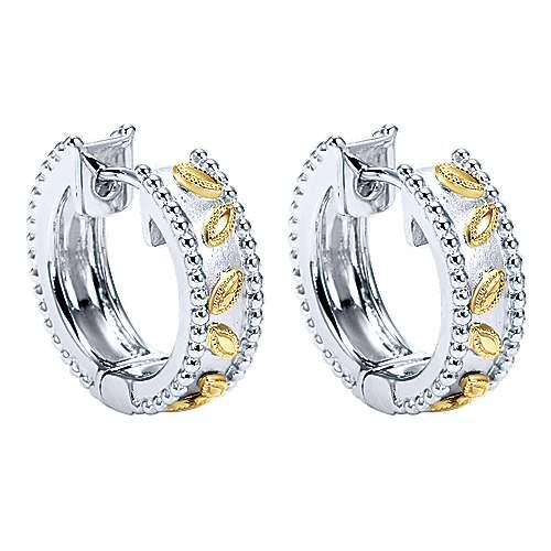 925 Silver And 18k Yellow Gold Huggies Huggie Earrings angle 2