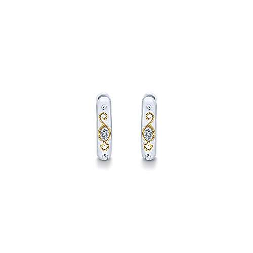 925 Silver And 18k Yellow Gold Huggies Huggie Earrings angle 3