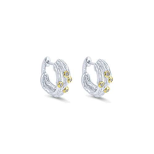 925 Silver And 18k Yellow Gold Huggies Huggie Earrings angle 1