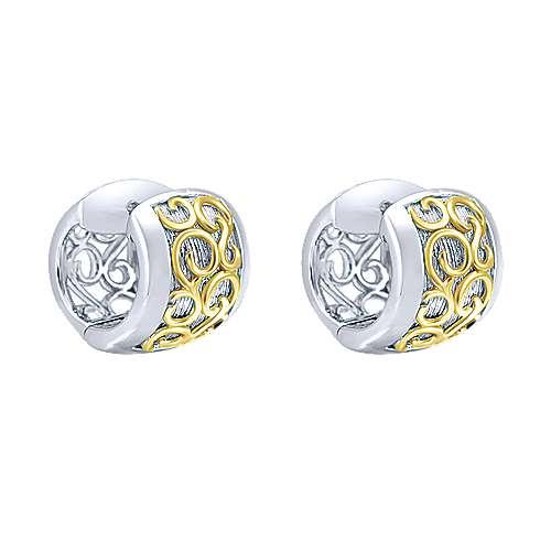 925 Silver And 18k Yellow Gold Huggies Huggie Earrings angle 1