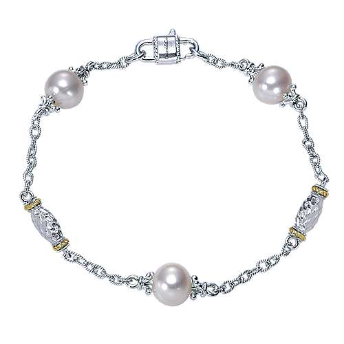Gabriel - 925 Silver And 18k Yellow Gold Infinite Gems Chain Bracelet
