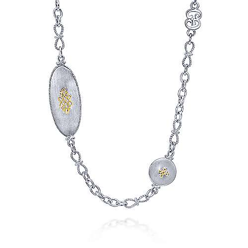 Gabriel - 925 Silver And 18k Yellow Gold Infinite Gems Station Necklace