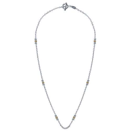 925 Silver And 18k Yellow Gold Infinite Gems Station Necklace angle 2