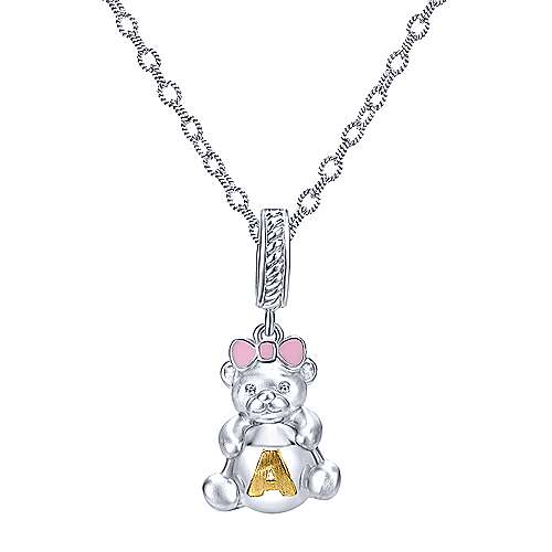 925 Silver And 18k Yellow Gold Initial Charm Pendant angle 3