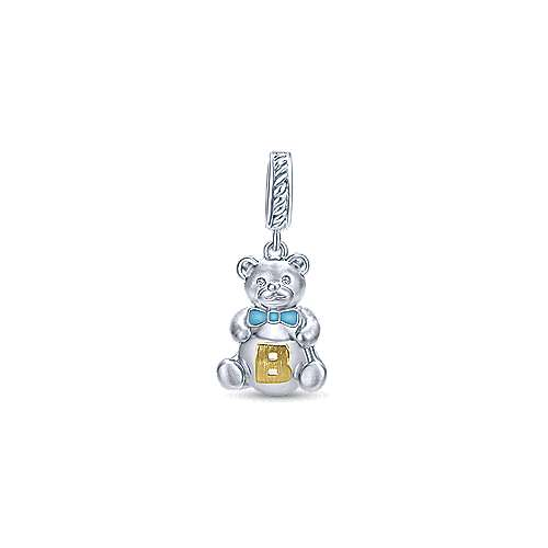 925 Silver And 18k Yellow Gold Initial Pendant angle 1