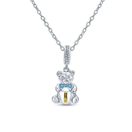 925 Silver And 18k Yellow Gold Initial Pendant angle 3