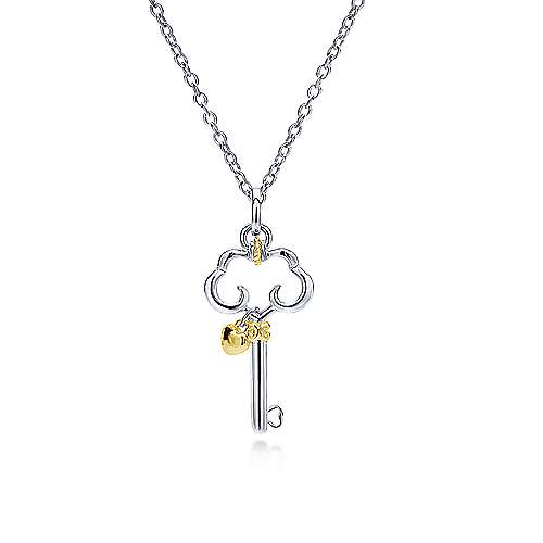 925 Silver And 18k Yellow Gold Keys Fashion Necklace angle 1