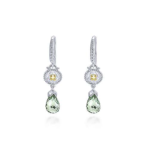 925 Silver And 18k Yellow Gold Mediterranean Drop Earrings angle 1