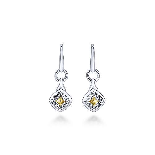 Gabriel - 925 Silver And 18k Yellow Gold Mediterranean Drop Earrings