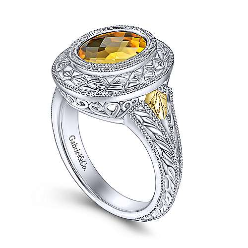 925 Silver And 18k Yellow Gold Mediterranean Fashion Ladies' Ring angle 3