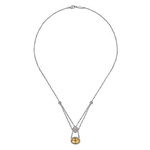 925 Silver And 18k Yellow Gold Mediterranean Fashion Necklace angle 2