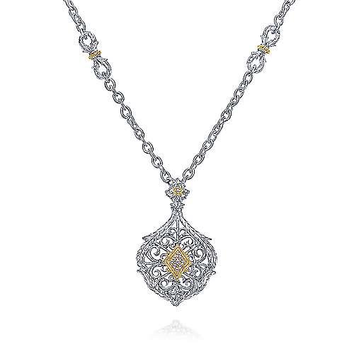 Gabriel - 925 Silver And 18k Yellow Gold Mediterranean Fashion Necklace