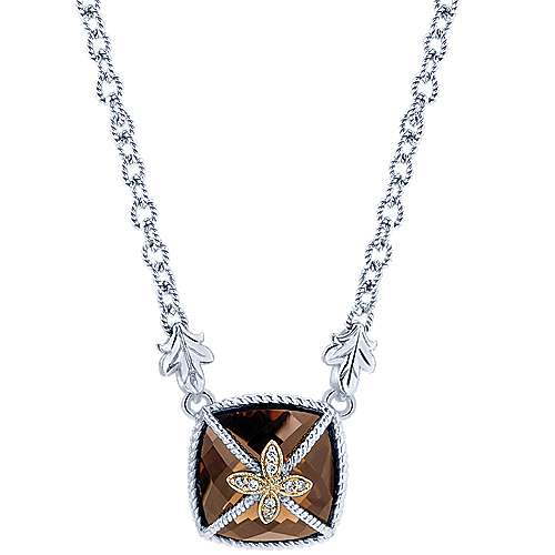 925 Silver And 18k Yellow Gold Mediterranean Fashion Necklace angle 1