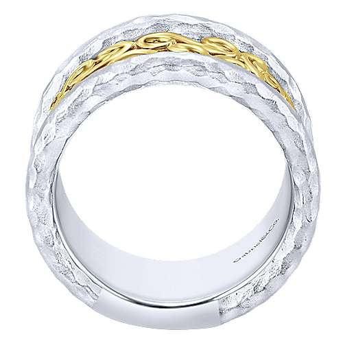925 Silver And 18k Yellow Gold Mediterranean Wide Band Ladies' Ring angle 2