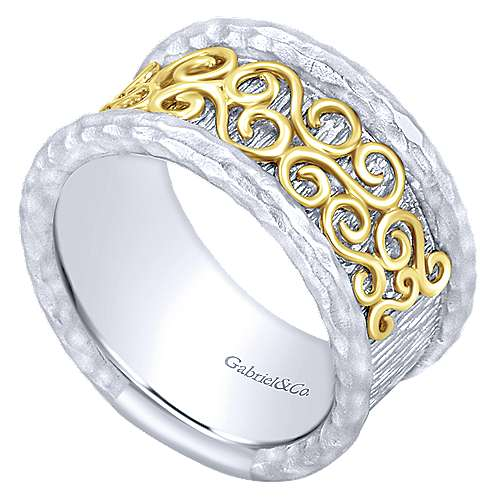 925 Silver And 18k Yellow Gold Mediterranean Wide Band Ladies' Ring angle 3