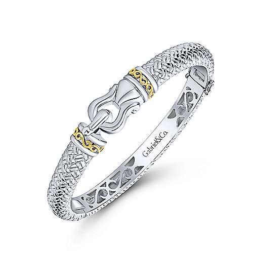 925 Silver And 18k Yellow Gold Roman Bangle angle 2