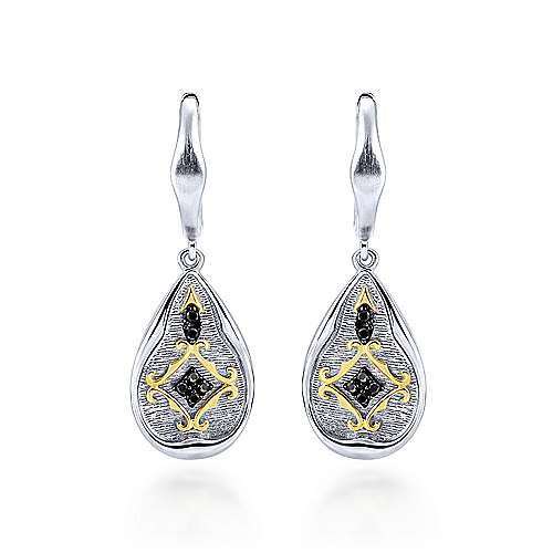 925 Silver And 18k Yellow Gold Roman Drop Earrings angle 1