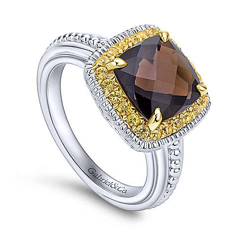 925 Silver And 18k Yellow Gold Roman Fashion Ladies' Ring angle 3