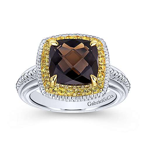 925 Silver And 18k Yellow Gold Roman Fashion Ladies' Ring angle 4
