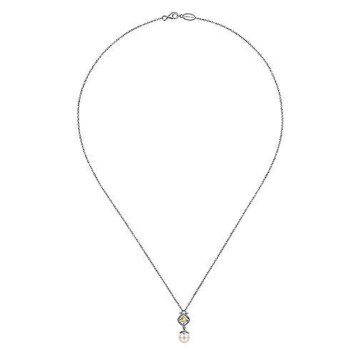 925 Silver And 18k Yellow Gold Roman Fashion Necklace angle 2
