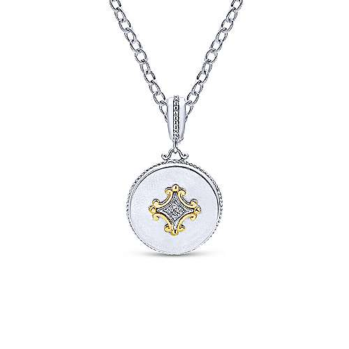 925 Silver And 18k Yellow Gold Roman Fashion Pendant angle 3