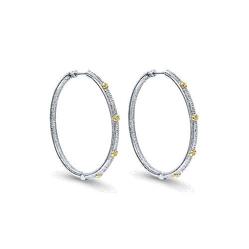 925 Silver And 18k Yellow Gold Scalloped Classic Hoop Earrings angle 1
