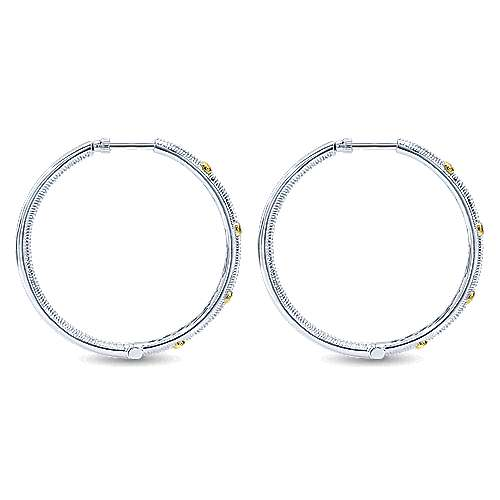 925 Silver And 18k Yellow Gold Scalloped Classic Hoop Earrings angle 2