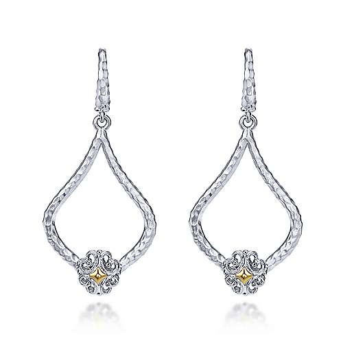 925 Silver And 18k Yellow Gold Souviens Drop Earrings angle 1