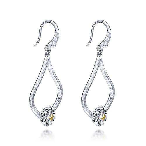 925 Silver And 18k Yellow Gold Souviens Drop Earrings angle 2