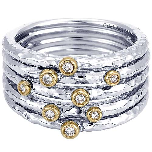 925 Silver And 18k Yellow Gold Souviens Wide Band Ladies' Ring angle 1