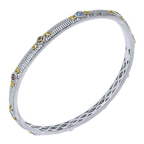925 Silver And 18k Yellow Gold Stackable Bangle angle 2