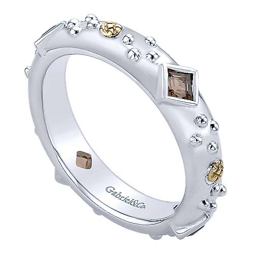 925 Silver And 18k Yellow Gold Stackable Ladies' Ring angle 3