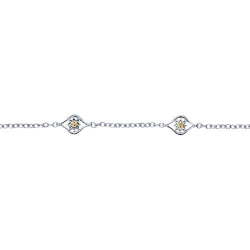 925 Silver And 18k Yellow Gold Victorian Chain Bracelet angle 2