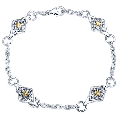 925 Silver And 18k Yellow Gold Victorian Chain Bracelet angle 1