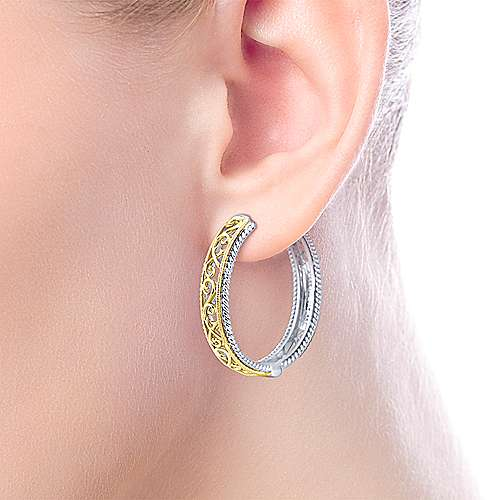 925 Silver And 18k Yellow Gold Victorian Classic Hoop Earrings angle 2
