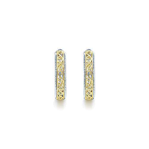 925 Silver And 18k Yellow Gold Victorian Classic Hoop Earrings angle 3